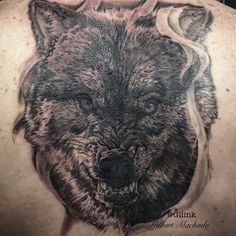Wolf, tattoos, tattoo, black rose, back piece, werewolf, horror, Halloween, scary, little red riding hood