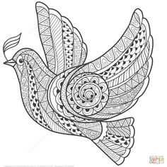 Illustration about Zentangle stylized floral Pigeon for Peace Day. Hand Drawn Dove of peace vector illustration. Illustration of nature, illustration, black - 63051825 Bird Coloring Pages, Mandala Coloring Pages, Free Printable Coloring Pages, Adult Coloring Pages, Colouring, Images Of Peace, Peace Pictures, Zentangle Drawings, Zentangle Patterns