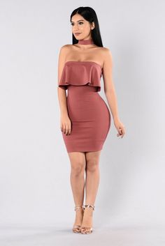 - Available in Auburn - Tube Dress - Ruffle Top - Fitted - Attached Choker - Made in USA - 65% Rayon 30% Nylon 5% Spandex