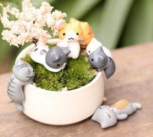 Venda 6 Pçs/lote miniaturas de animais encantadores gatos 3-5 cm fada do jardim gnome musgo terrário decoração artesanato bonsai casa decoração para DIY(China (Mainland))