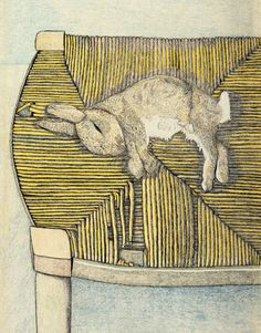'Rabbit on a Chair' (1944) by British artist Lucian Freud (1922-2011). Pencil & crayon on paper, 18.875 x 12.25 in. via Christie's