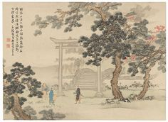 Meeting at a Torii Gate by Shin-hanga & Modern artist (not read). Japanese woodblock print.