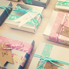 Washi Tape decorated gift boxes.