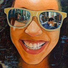 """Recuerdo que te vi"" Yunior Hurtado (Cuban, b. 1977), oil on canvas, 2015 {figurative art beautiful female head sunglasses happy smiling cuban woman face painting #loveart #2good2btrue} yuniorhurtado.net"