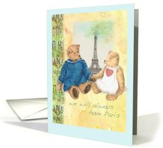 My teddy bear illustrations are inspire by my teddy bear collection. I have a wonderful collection of handmade bears...For wife, Paris Anniversary,pair of cuddly teddy bears card (966229)