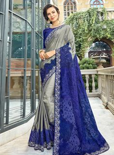 8e4f68021a4 Buy Gray Silk Festival Wear Saree 148422 with blouse online at lowest price  from vast collection