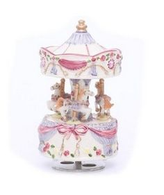 Laxury 3-horse Carousel Music Box, Play the Castle in the Sky Tune (Model: Jx-2054, Ceramic Material)