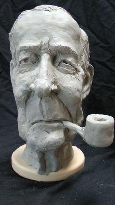#Ceramic #sculpture by #sculptor Richard Austin titled: 'Bust of Tony Benn (Caricature Portrait Head statue)'. #RichardAustin