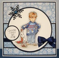 Hello Everyone, I have a card to share today using one of the new Christmas stamps from Lili of the Valley. This is Stroppy Boy - Christma. Christmas Cards 2018, Xmas Cards, Christmas Crafts, Greeting Cards, Winter Jumpers, Christmas Jumpers, Hobby House, Mo Manning, Penny Black