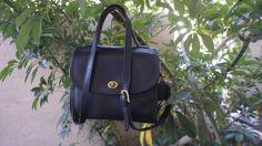 vintage black leather Coach manor bag