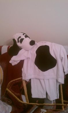 Snoopy halloween costume made from white sweats, baseball cap and black felt