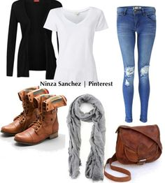 Ripped skinny jean, scrunched scarf, sling bag, combat boots, white V, and black cartagen. Luv luv luv this casual look!