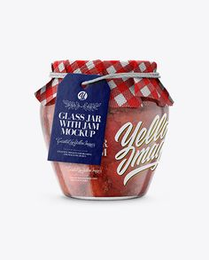 Glass Strawberry Jam Jar with Fabric Cap and Label