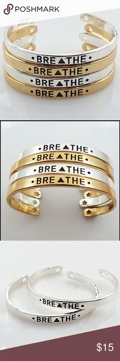 "Breathe Bangle ""Breathe"" inspiration bangle Silver plated. Gorgeous reminder of who you are and to always do what you want with your life. One size fits all wrists. @kelsey488 Jewelry Bracelets"