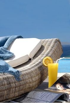 Tharroe of Mykonos, Greece Nantucket, Rattan, Les Hamptons, Cap Ferret, Relax, Summer Breeze, Tropical Paradise, Coastal Living, Sun Lounger