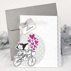 invitacin de boda original con novios en bicicleta y corazones invitacin de boda la
