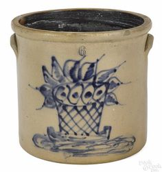Stoneware six-gallon crock, 19th c., with a latticed basket of flowers, 13'' h. - Price Estimate: $400 - $800