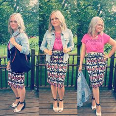 Renee C Melisa Pencil Skirt :: Liverpool Denim Jacket #stitchfix