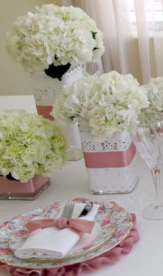 Ribbon & lace wrapped centerpieces.