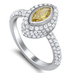 0.37 Carat Fancy Vivid Greenish Yellow Diamond Ring in 18K White & Yellow Gold