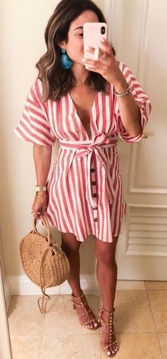 c12d1b1268a  summer  outfits white and pink striped sleeved top. Elegant Summer Outfits
