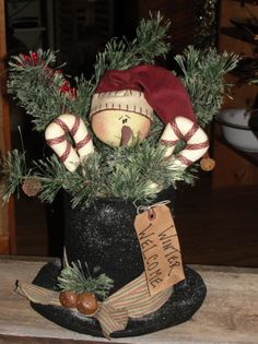 Frosty Hat Decorated With/Without Lights turn coffee can up so you can fill it with goodies. Use plastic plate Primitive Christmas, Country Christmas, Christmas Snowman, Winter Christmas, Vintage Christmas, Christmas Wreaths, Christmas Ornaments, Primitive Snowmen, Primitive Crafts