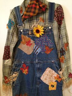 Awesome Adult Scarecrow Costume with Hat and by IfIOnlyHadABrane, $60.00