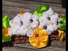Novo modelo de Flores em Tecido e Fitas de Cetim- HOW TO MAKE ROSES- fabric flowers - YouTube