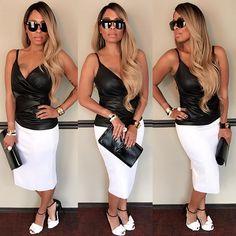 Lisa Darlin 💋 #zmcfashion #baileyleathertank #millyskirt #guiseppezanottishoes #yslclutch #versacesunglasses #blackandwhite #wigstyle #love #fashion #zmclife #zmc 😘