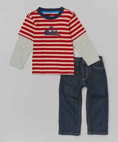 Look at this Red Stripe Layered Tee & Blue Jeans - Toddler on #zulily today!
