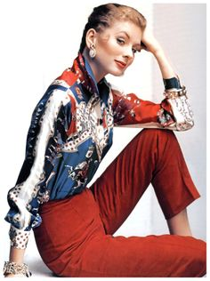 Suzy Parker wearing pants and blouse by Pucci, photo by John Rawlings, Vogue, December1953