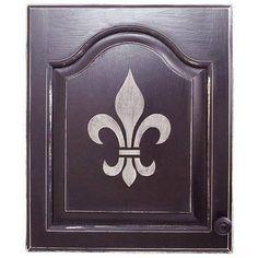 Fleur de Lis painted cabinet door