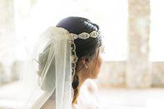 #headband, #headpiece, #veils  Photography: Sara Lucero - www.saralucero.com  Read More: http://www.stylemepretty.com/2014/07/07/forest-inspired-indoor-wedding/