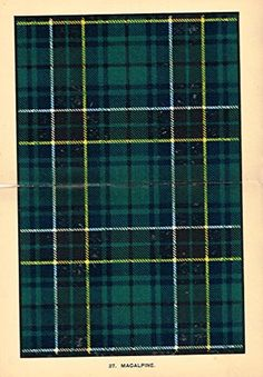 "Johnston's Scottish Tartans - ""MACALPINE"" - Chromolithograph - c1899"
