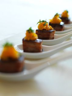 Pork belly on spoons by Devour Catering Calgary, via Flickr