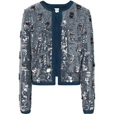 Reiss Shelby Embroidered All Over Sequin Jacket found on Polyvore featuring polyvore, women's fashion, clothing, outerwear, jackets, blazer, pacific blue, reiss, short jacket and long sleeve jacket