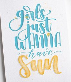 girls just wanna have sun - Handlettering Brush Lettering Worksheet, Brush Lettering Quotes, Watercolor Lettering, Hand Lettering Quotes, Creative Lettering, Calligraphy Quotes Scriptures, Handwritten Quotes, Letter Art, Letters