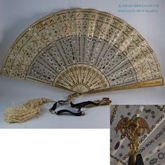 ANTIQUE FRENCH ART NOUVEAU LADY HAND FAN WITH RARE CHIMERA CHATELAINE