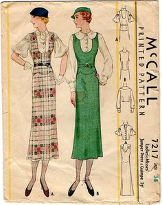 mccall 7217 - jumper dress and blouse 1930s Fashion, Retro Fashion, Vintage Fashion, Vintage Dress Patterns, Vintage Dresses, Vintage Clothing, Retro Outfits, Vintage Outfits, Fashion Catalogue