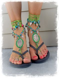 Green LEAF BAREFOOT sandals Forest Fairy Woodland jewelry Garden Wedding Beach Toe anklets Sandal Gypsy Crochet Beaded sandals GPyoga