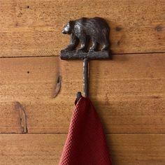 Cast Aluminum Burl Finish Bear Design Single Hook Country Primitive Home Wall Décor - Set of 2