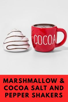 How stinkin cute are these Marshmallow and Hot Chocolate salt and pepper shakers? I can't wait to use them at a dinner party this winter! #hotchocolate #saltandpepper #cocoa #dinnerparty #ad