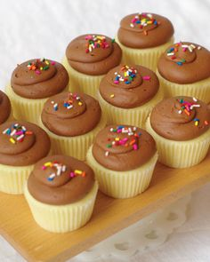 "Muddy's Classic Cupcakes: vanilla cake + chocolate icing. Those sprinkles just scream ""Happy Birthday!"""