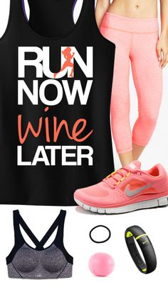 NEED ALL OF THESE!!!!!  Cool Coral #Runners Theme Outfit featuring a RUN NOW WINE LATER Black & Coral Racerback Tank Top by #NobullWomanApparel, $24.99 on Etsy.