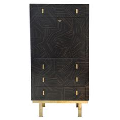 1st Dibs - Flair Patchwork Secretary, 1950's vintage Italian secretary with marquetry and brass details, upholstered drawers