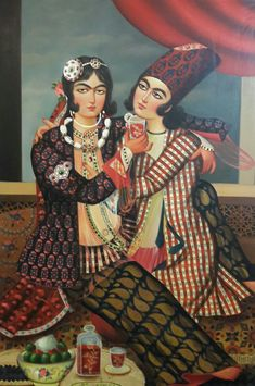 دو دلداده ، نگارخانه شهبازی ۰۹۳۹۵۸۲۸۴۱۰ India Painting, Woman Painting, Islamic Tiles, Islamic Art, Qajar Dynasty, Decoupage Printables, Iranian Art, Decoupage Art, Rare Photos