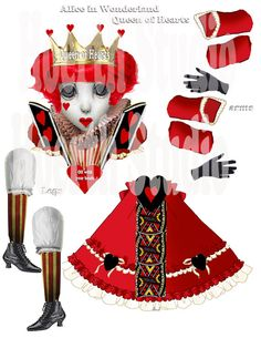 Alice in Wonderland Queen of Hearts paper doll, valentine paper puppet Articulated original Art collage sheet instant valentine Paper Puppets, Paper Toys, Origami, Holly Hobbie, Moving Dolls, Alice In Wonderland Doll, Marionette, Paper Dolls Printable, Victorian Dolls
