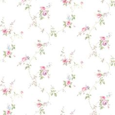 """August Grove Driskell 32.7' L x 20.5"""" W Floral and Botanical Wallpaper Roll Color: Pink Green/Blue"""