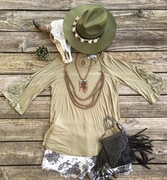 $18 Southern Belle Crochet Sleeve Tunics ~ sizes S, M & L >>> Jamestown Western Boho Hats $29 in Olive >> Chesney Tooled Floral Leather Fringe Bags $42 >>> Check out all our NEW JEWELZ!! YES that's a #serape #cactus #copper necklace y'all!!! >>> Online NOW www.lilbeesbohemian.com #bibnecklace #musthave #statementpiece #cactus #cactusnecklace #serape #boho #bohochic #truckee #truckeelove