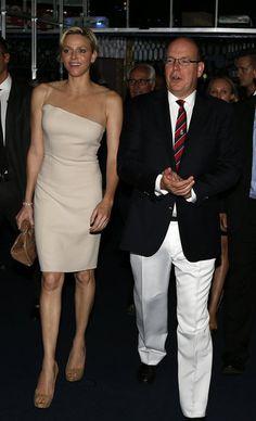 Princess Charlene and Prince Albert II of Monaco sat ringside in Monte Carlo.